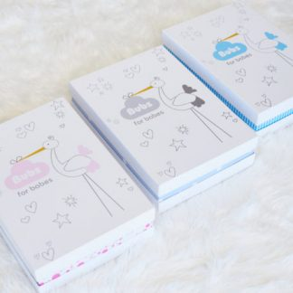 three boxes with baby shower gifts